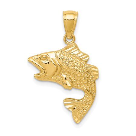 14k Yellow Gold Textured Bass Pendant Charm Necklace Animal Sea Life Fish Man Gift For Dad Mens For Him