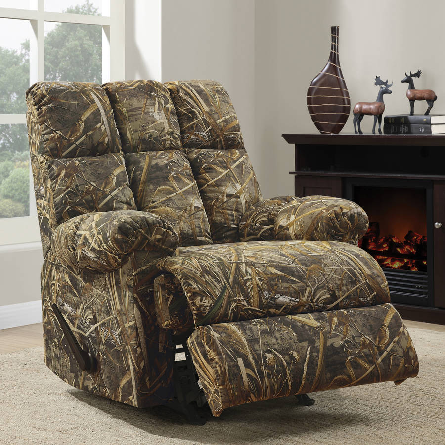 Rustic Man Cave Furniture : New rocker recliner chair rustic camouflage man cave cabin
