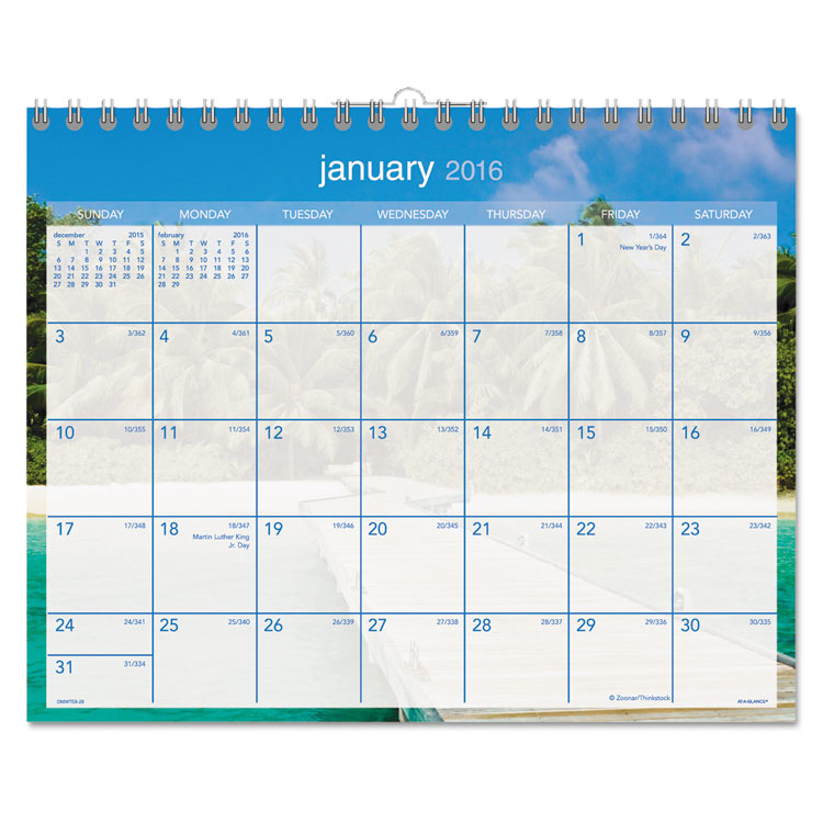 "At-A-Glance Tropical Escape Monthly Wall Calendar - Julian - Monthly - 1 Year - January 2018 till December 2018 - 1 Month Single Page Layout - 15"" x 12"" - Wire Bound - Wall Mountable - Blue - Chipboar"