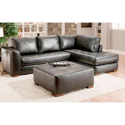 Albany Capri Leather Sectional Sofa Black Box 2 Of 2