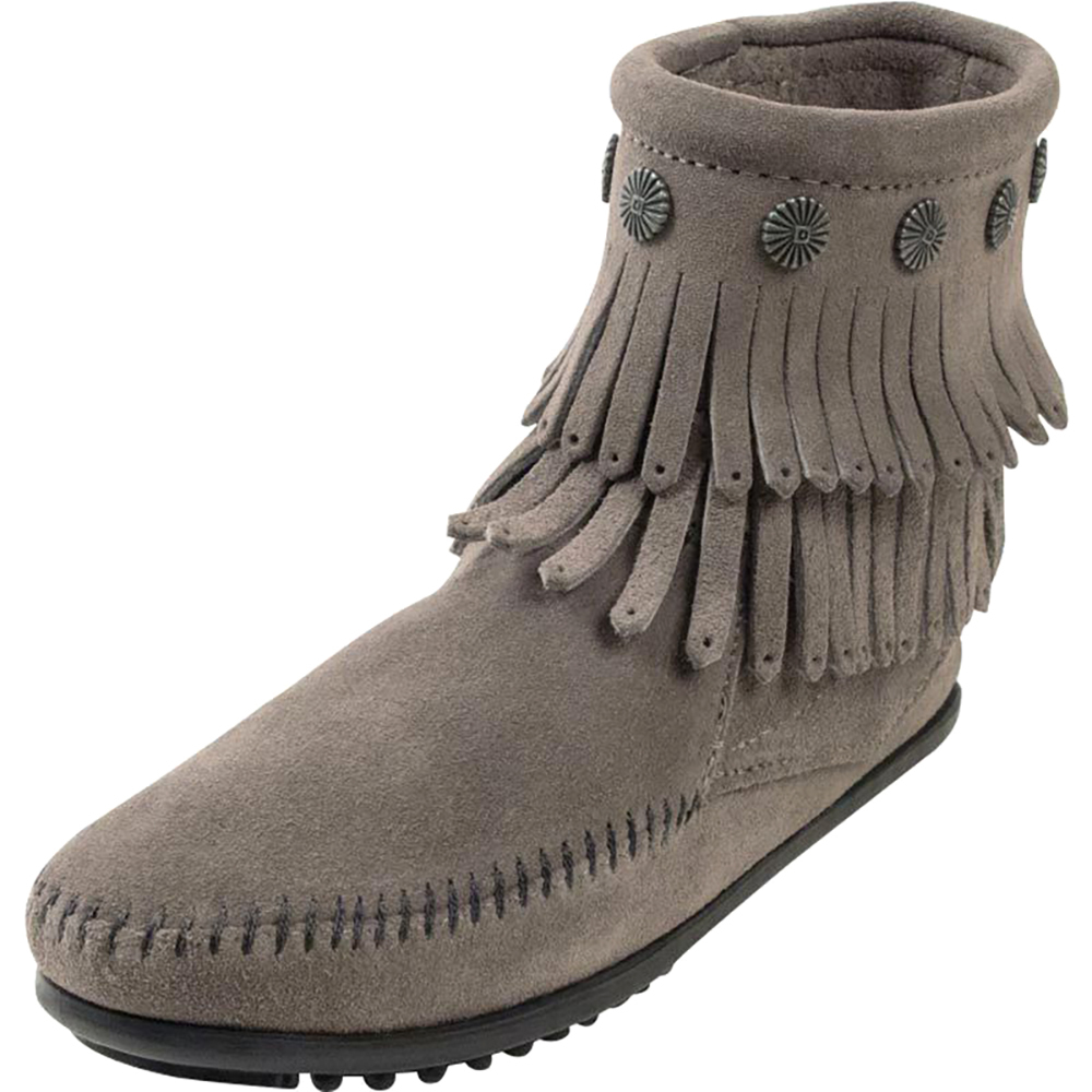 Minnetonka Womens Grey Double Fringe Side Zip Boot 6in Top by MINNETONKA