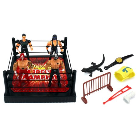 VT World Hardcore Champions Wrestling Toy Figure Play Set w/ Ring, 4 Toy Figures, Accessories](Sumo Wrestling Funny)