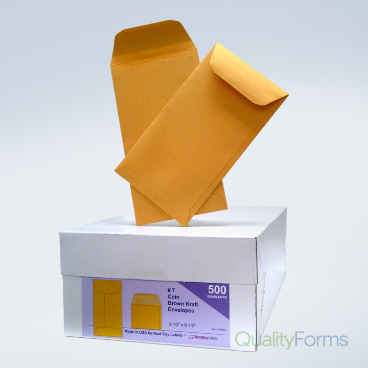 Box of 500 # 7 Coin Brown Kraft Envelopes, for Small Parts, Cash Etc.
