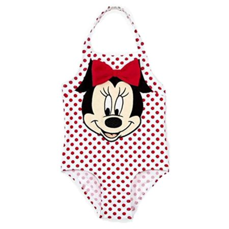 Disney Infant Girls Red Polka Dot Minnie Mouse 1 Piece Swimming Suit 3-6m (Minnie Mouse Suit)