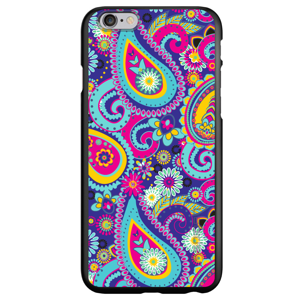 "CUSTOM Black Spigen Thin Fit Case for Apple iPhone 6 PLUS / 6S PLUS (5.5"" Screen) - Hot Blue Yellow Pink Paisley"
