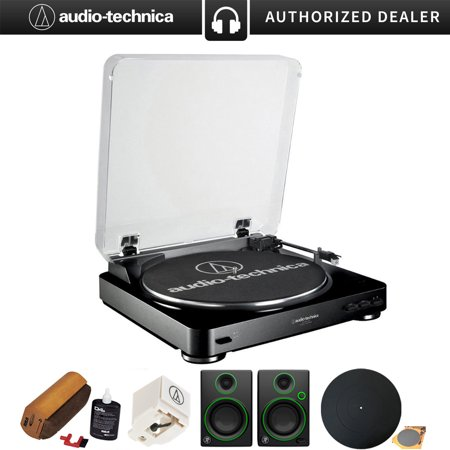 Audio-Technica Fully Automatic Stereo Turntable System, Black (AT-LP60bk) w/ Record Cleaning Fluid + Stylus for AT-LP60 + Multimedia Monitors (Pair) + Silicone Rubber Universal Turntable Platter Mat