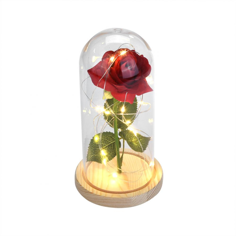 Dilwe Red Rose Birthday Gift Red Rose Wooden Base Red Rose Glass