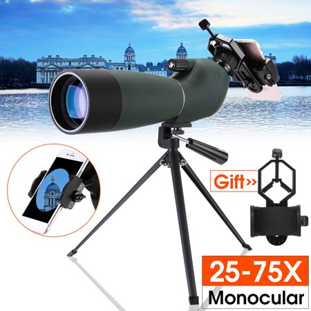 - Day/Night Vision 25-75X70 Zoom HD Monocular Spotting Scope BAK4 Telescope with Tripod + Phone Adapter + Bracket Connector