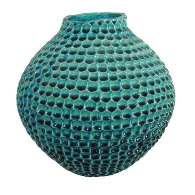 Moes Home Collection HQ-1006-26 Porcini Vase, Short, Blue, Set of 2