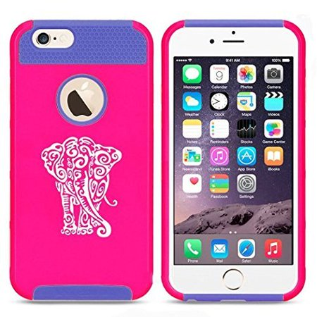 Apple iPhone 6 6s Hybrid Shockproof Impact Hard Cover / Soft Silicone Rubber Inside Case Tribal Elephant (Hot Pink-Blue),MIP