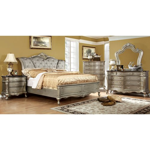 Furniture of America Masika Traditional 4-Piece Gold Bedroom Set, Multiple Sizes by Furniture of America