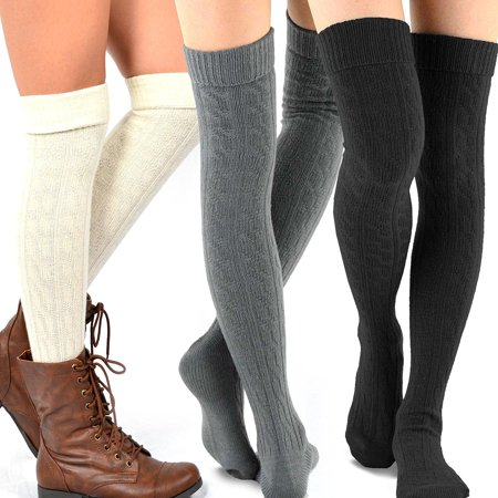 Women's Fashion Over the Knee High Socks - 3 Pair Combo ()