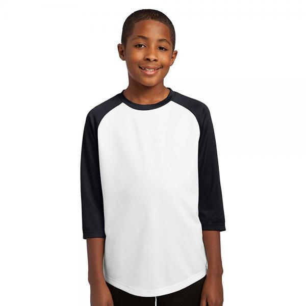 Sport-Tek Boys' PosiCharge Baseball Jersey M White/Black