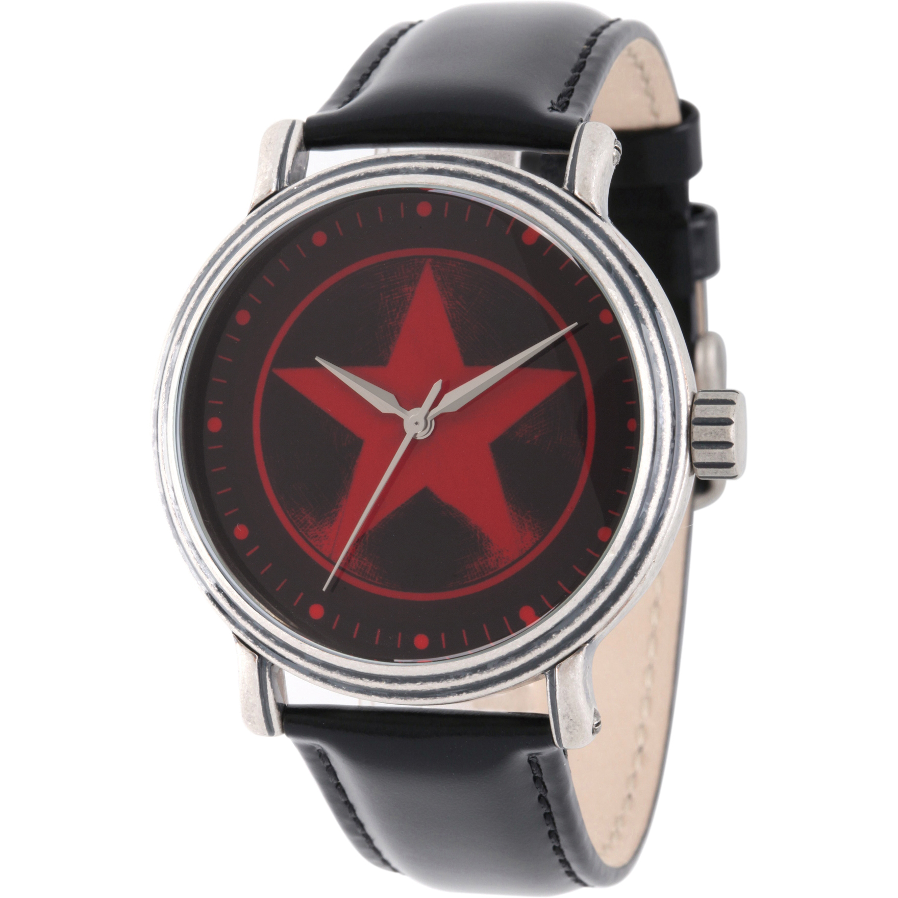 Avengers Captain America Men's' Antique Silver Alloy Vintage Watch, Black Leather Strap