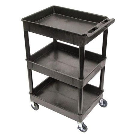 LUXOR STC111-B Utility Cart, 300 lb. Cap., PE, 3 - LUXOR STC111-B Utility Cart, 300 Lb. Cap., PE, 3 Shelves - Walmart.com