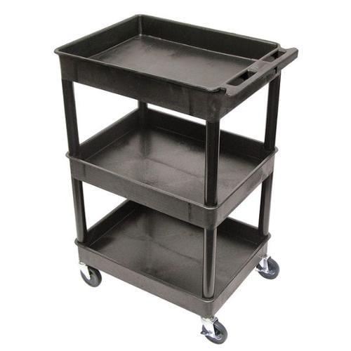 LUXOR STC111-B Utility Cart, 300 lb. Cap., PE, 3 Shelves