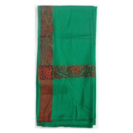 Scarf Jewelry Accessory - MuslimClothing® Green Kashmiri Yemeni Habaib Style Muslim Scarf Shawl 56cmx203cm