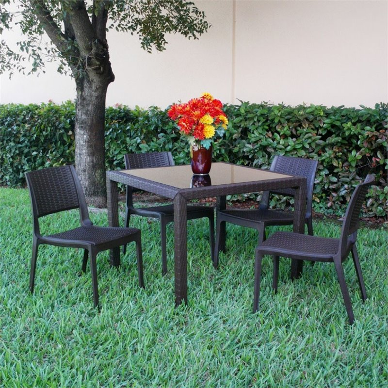Compamia Miami 5 Piece Square Wickerlook Patio Dining Set in Brown