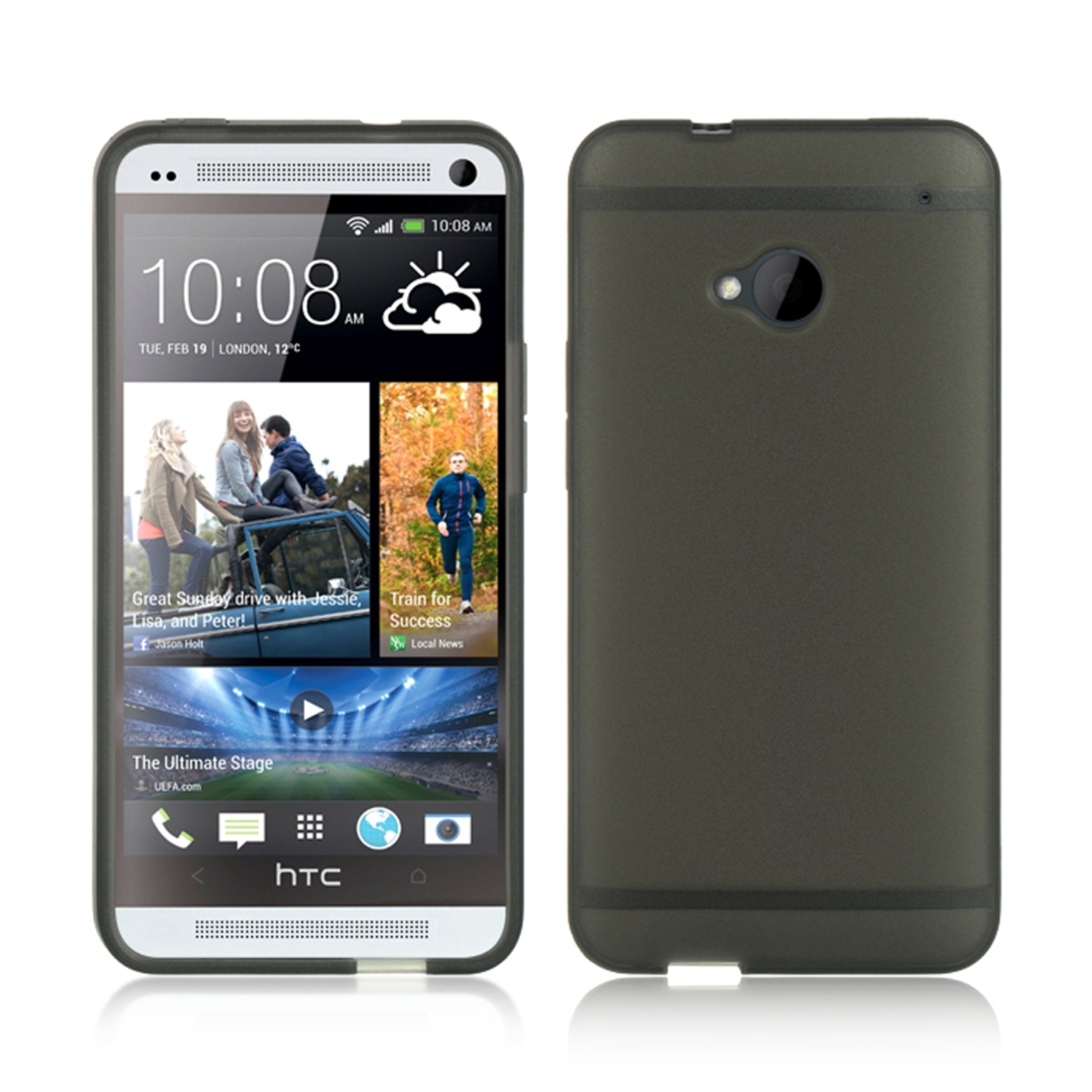 HTC One M7 Case, HTC One M7 Phone Case, by Insten Foggy TPU Rubber Case Tinted with Trim For HTC One M7