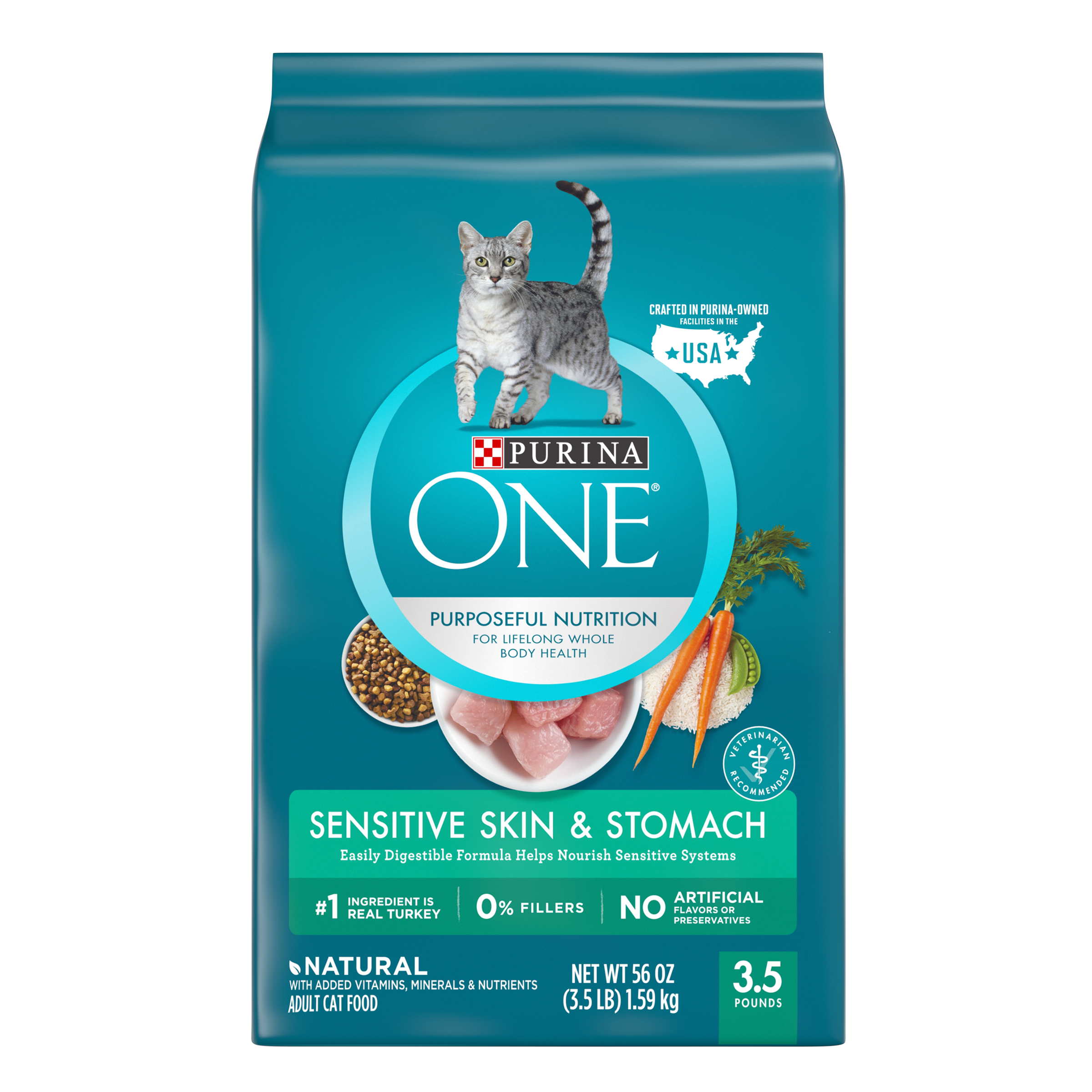 Purina ONE Sensitive Skin & Stomach Formula Adult Dry Cat Food, 3.5 lb