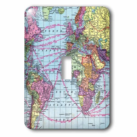 3dRose Colorful Vintage World Map - distance calculations between countries on lines - south america africa, Single Toggle Switch