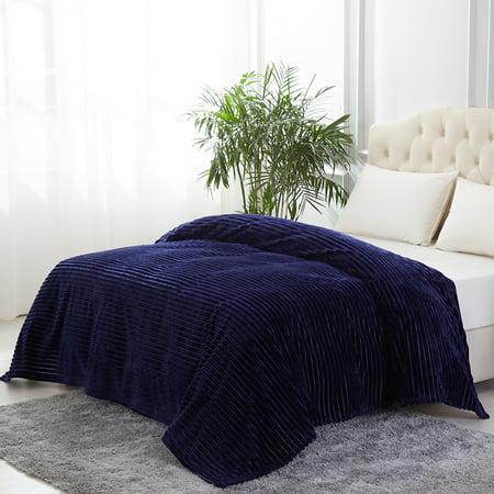 All Season Plush Fleece Blanket, 280GSM Lightweight Rib Stripe Flannel Bed Blanket- No Fading,Shrink Resistant,Solid