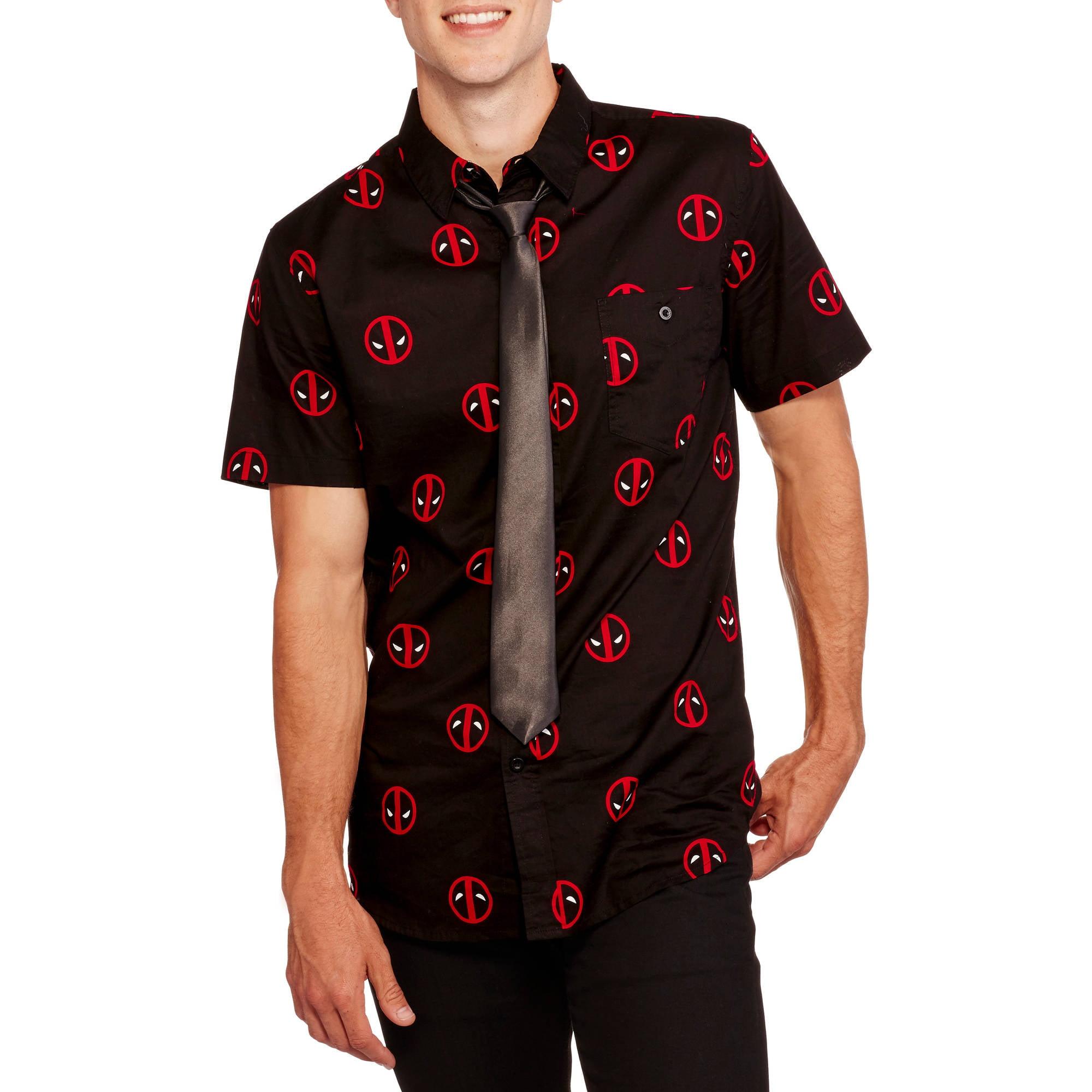 Deadpool Print Big Men's Short Sleeve Woven Shirt