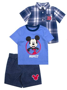 c93b97674 Product Image Button-up Top, T-shirt & Shorts, 3pc Outfit Set (Baby