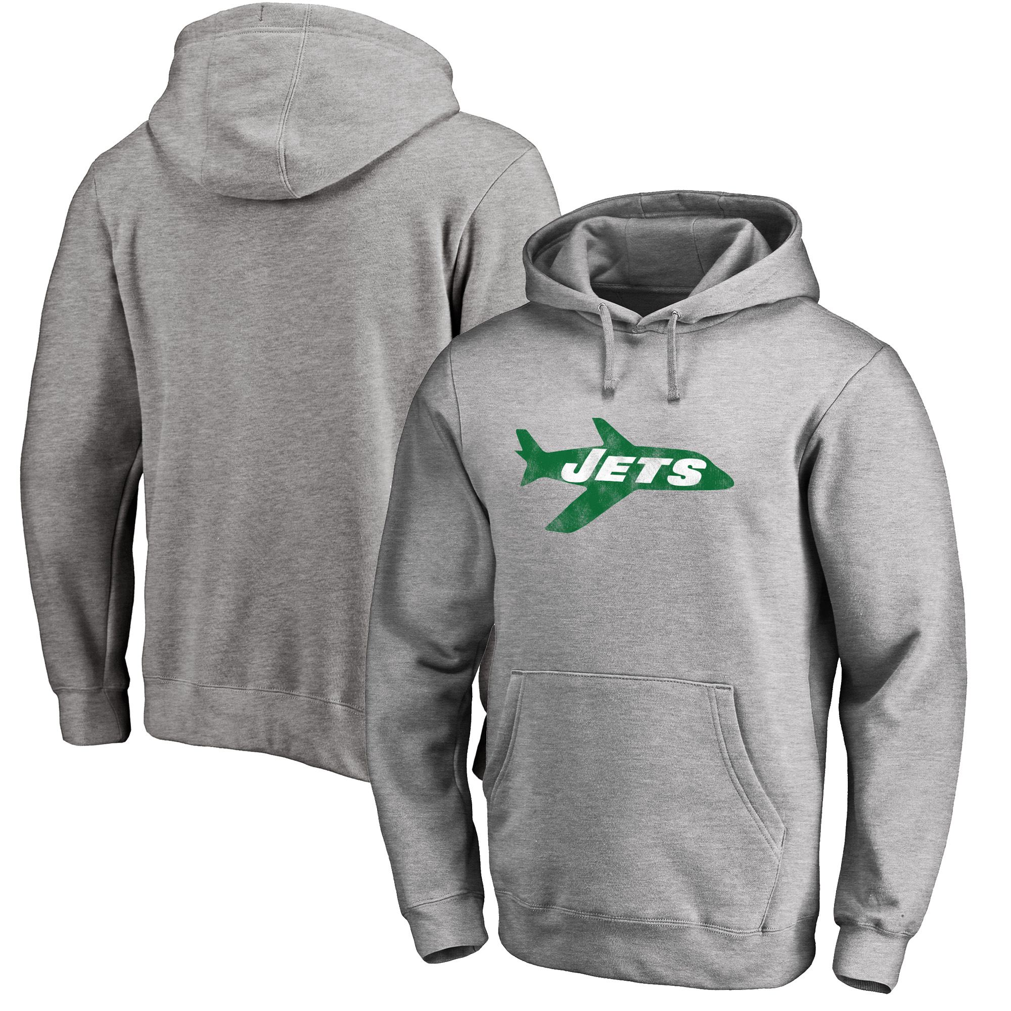 New York Jets NFL Pro Line Throwback Logo Pullover Hoodie - Gray