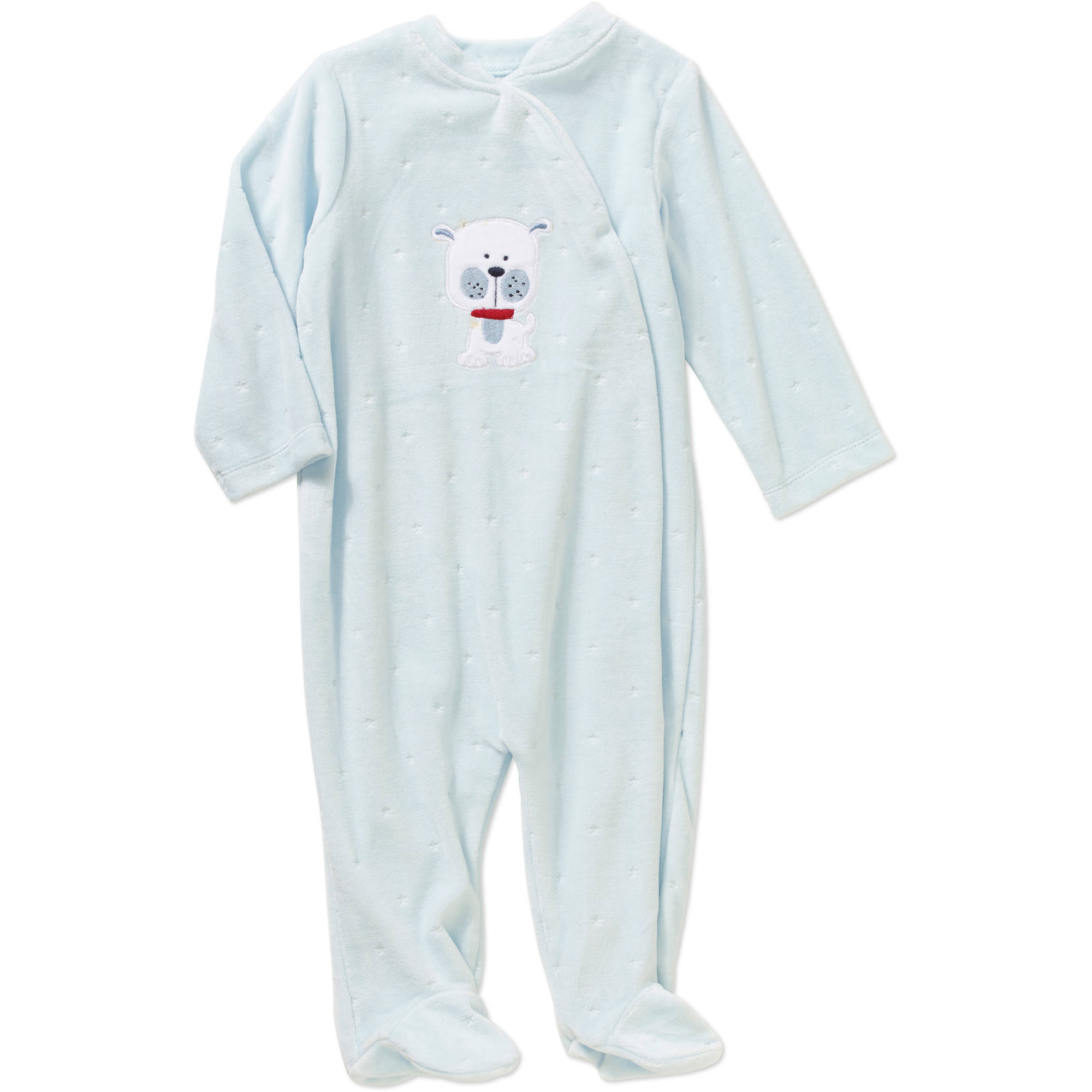 Quiltex Newborn Baby Boy Dog Velour Footed Coverall