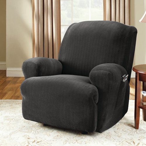 Sure Fit Stretch Pinstripe Recliner Slipcover, Chocolate