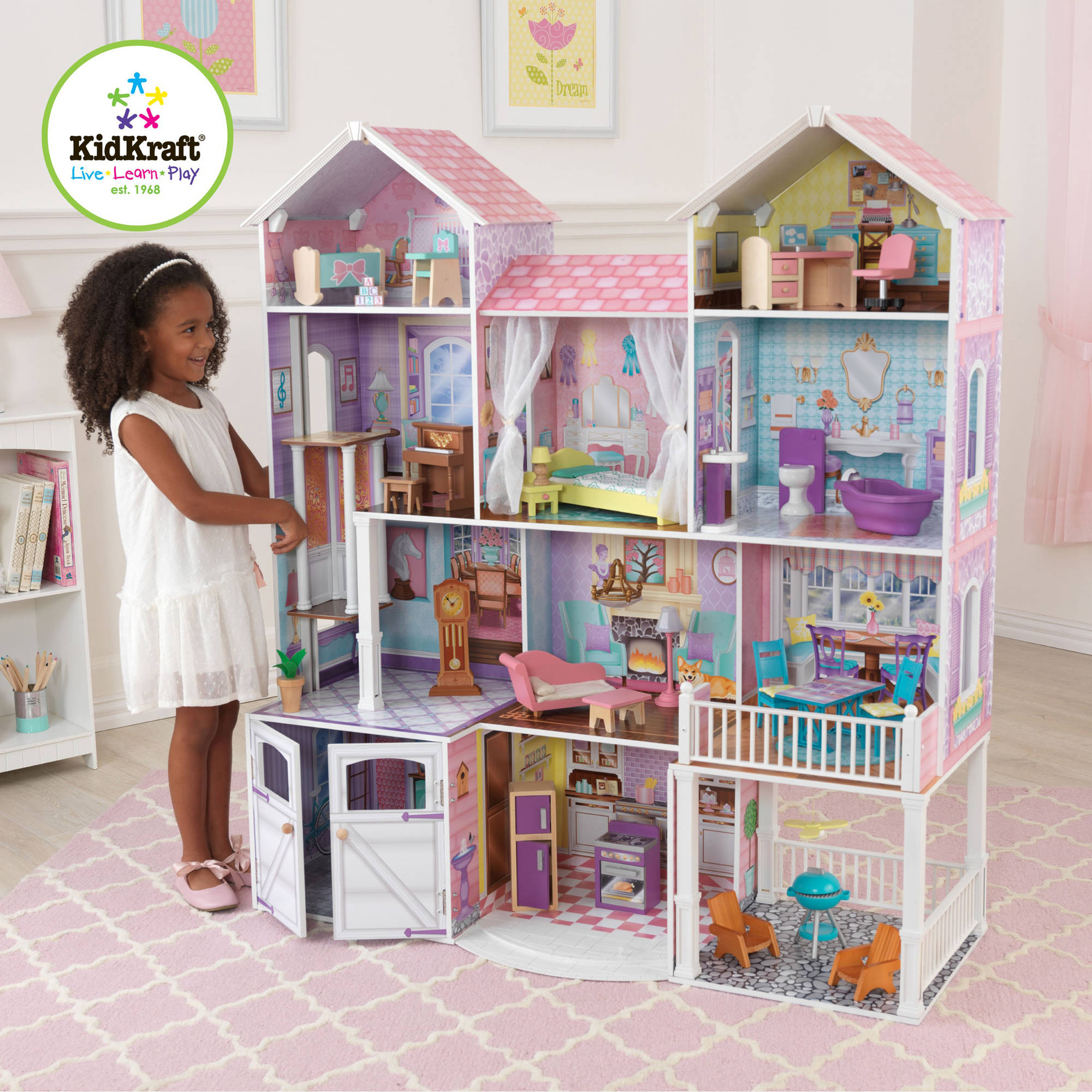 kidkraft majestic mansion wooden dollhouse with 33 pieces