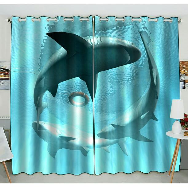 Phfzk Underwater Window Curtain, Three Shark In Deep Blue ...
