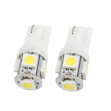 Unique Bargains T10 White 5050 SMD 5 LEDs Car Side Tail License Number Plate Backup Light