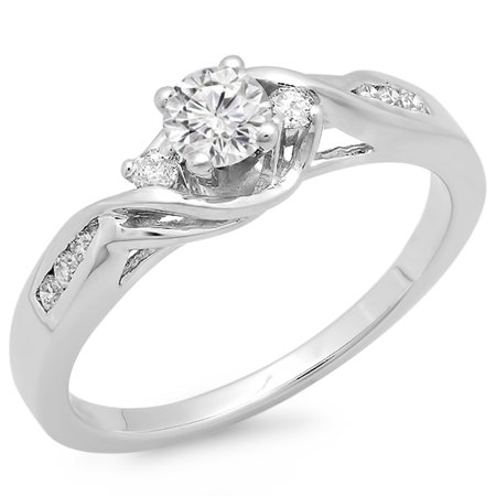 Dazzlingrock Collection 0.50 Carat (ctw) 14k Round Diamond Ladies Crossover Swirl 3 Stone Bridal Engagement Ring 1/2 CT, White Gold, Size 7