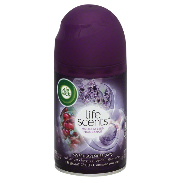 Air Wick Life Scents Automatic Air Freshener Spray, Sweet Lavender Days with Red Currant, Lavender Petals & Spun Sugar Scent, 6.17 Ounce