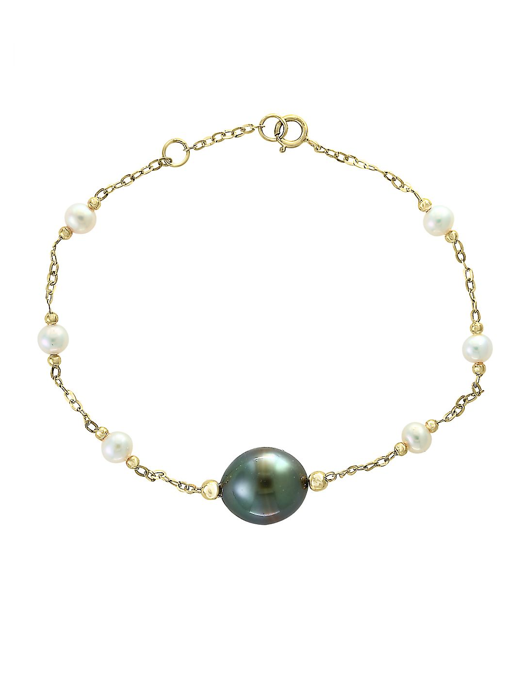4.5-11MM Pearl and 14K Yellow Gold Chain Bracelet