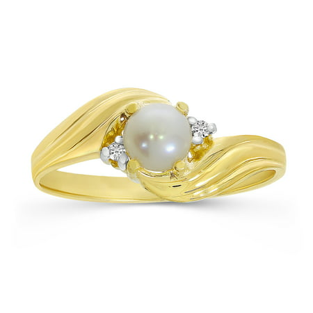 14k Yellow Gold Freshwater Cultured Pearl And Diamond Ring 14k June Birthstone Ring