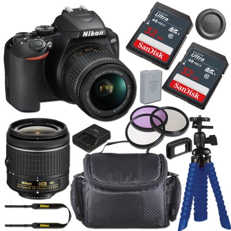 Nikon D3500 DSLR Camera with AF-P DX NIKKOR 18-55mm f/3.5-5.6G VR Lens + 64GB Card, Tripod, and Bundle