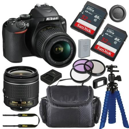 Nikon D3500 DSLR Camera with AF-P DX NIKKOR 18-55mm f/3.5-5.6G VR Lens + 64GB Card, Tripod, and Bundle