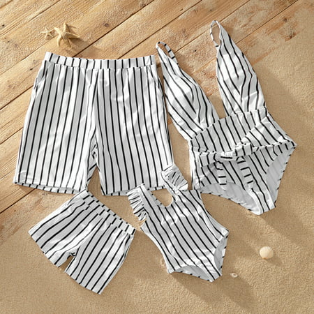 PatPat Deep V Striped Matching Swimsuits Girl Boy Women Men Swimwear