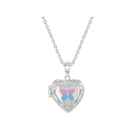 925 Sterling Silver Enamel Butterfly Heart Girls Locket Necklace Pendant 16