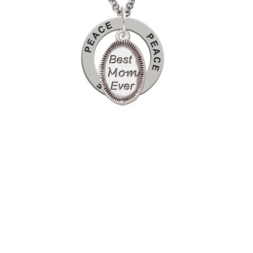 Best Mom Ever Oval Peace Affirmation Ring Necklace