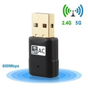 GoldCherry Mini USB WiFi Adapter Dual Band 600Mbps Wireless Network Dongle for PC Windows