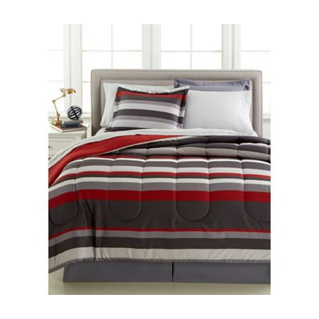 Gray & Red Teen Boys Stripe Reversible California King Comforter Set (8 Piece Bed In Bag)