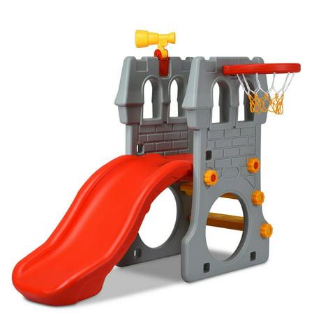 Gymax 2-Step Children Castle Slide Basketball Hoop and Telescope Toy Indoor & - Slime Basketball