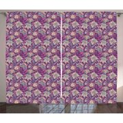 Floral Curtains 2 Panels Set, Bright Flowers with Mehndi Style Romantic Asian Ornamental Petals Paisley Design, Window Drapes for Living Room Bedroom, 108W X 90L Inches, Mauve Green, by Ambesonne