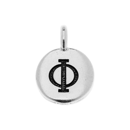 TierraCast Greek Alphabet Charm, Phi Symbol 16.75x11.75mm, 1 Piece, Antiqued Silver Plated