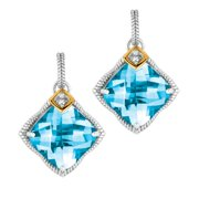 Phillip Gavriel 18K Gold & Sterling Silver Diamond, Blue Topaz Star Earrings