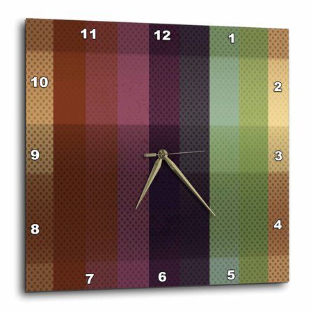 - 3dRose Blue, Pink, Green, Brown Wide Stripes With Dots, Wall Clock, 15 by 15-inch